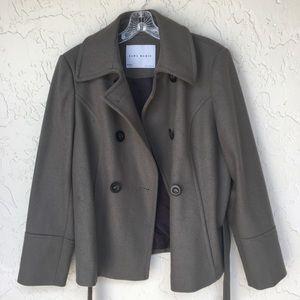 ZARA Grey Wool Pea Coat Jacket Size XL
